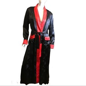 Vintage 1980s Silk Belted Robe Black Red Small